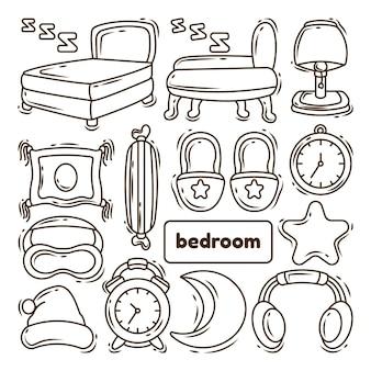 Desenhos animados desenhados à mão para colorir coleção de quarto