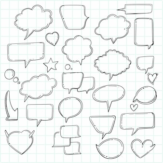 Desenhos animados desenhados à mão pensando formas definir esboço Vetor grátis