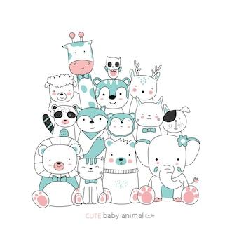 Desenhos animados desenham os animais fofos com amigos estilo desenhado à mão