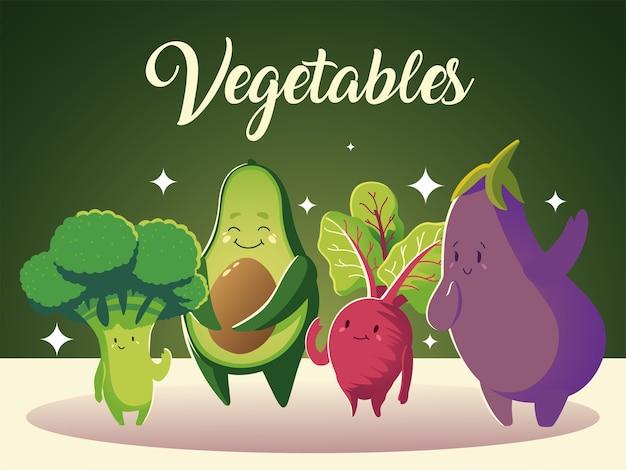 Desenhos animados detalhados de vegetais, abacate, brócolis, rabanete e berinjela