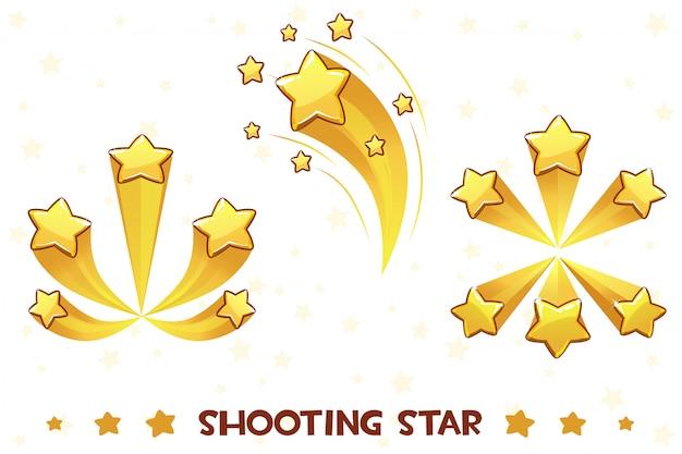 Desenhos animados diferentes atirando estrelas douradas, ativos de jogo