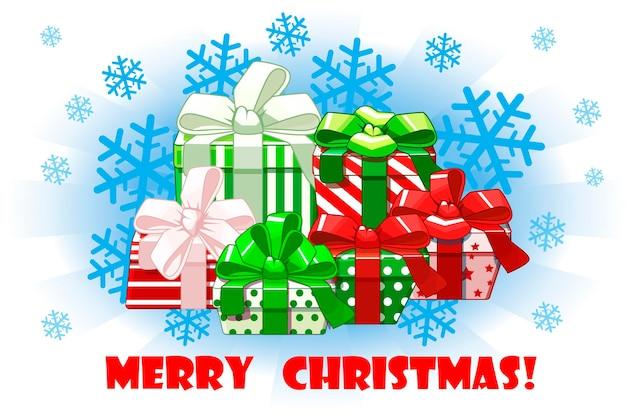 Desenhos animados diferentes presentes de feliz natal em fundo de neve, embalagens criativas. fundo do vetor.