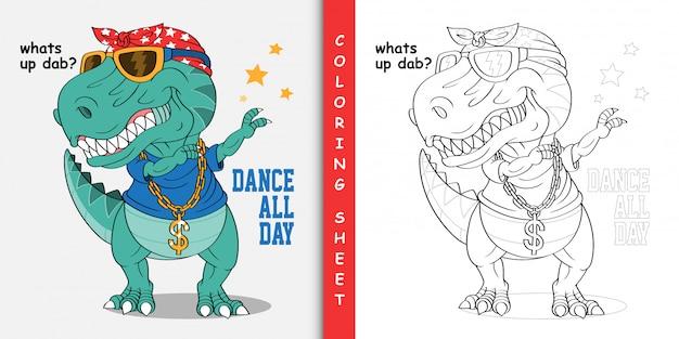 Desenhos animados dinossauro dabbing, folha para colorir