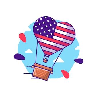 Desenhos animados do balão de ar quente para o dia da independência dos eua