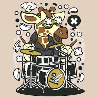 Desenhos animados do baterista de girrafe