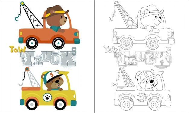 Desenhos animados do caminhão de reboque com motorista engraçado