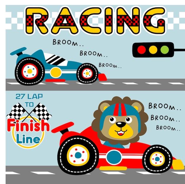 Desenhos animados do carro de corrida