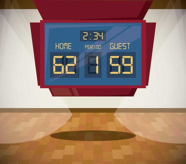Desenhos animados do cenário do jogo do esporte do basquetebol