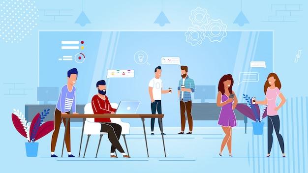 Desenhos animados do centro de coworking.