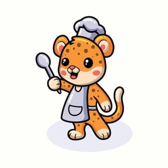 Desenhos animados do chef bebê leopardo fofo