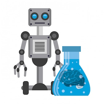 Desenhos animados do conceito de ícones de inteligência artificial