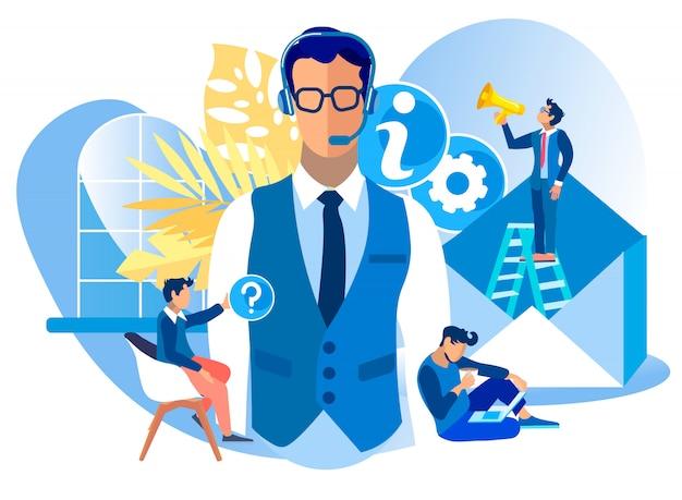 Desenhos animados do consultante do centro de chamadas