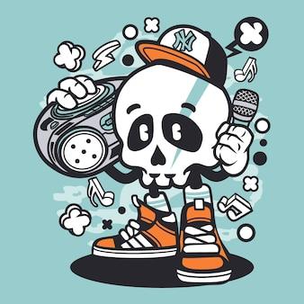 Desenhos animados do crânio de boombox