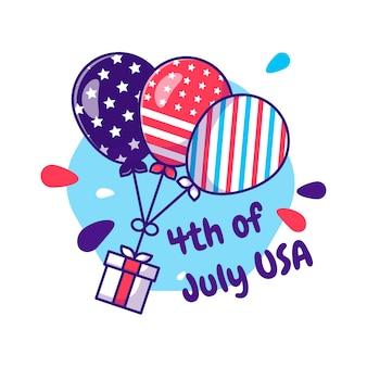 Desenhos animados do dia da independência dos eua com tema de coleção de balões