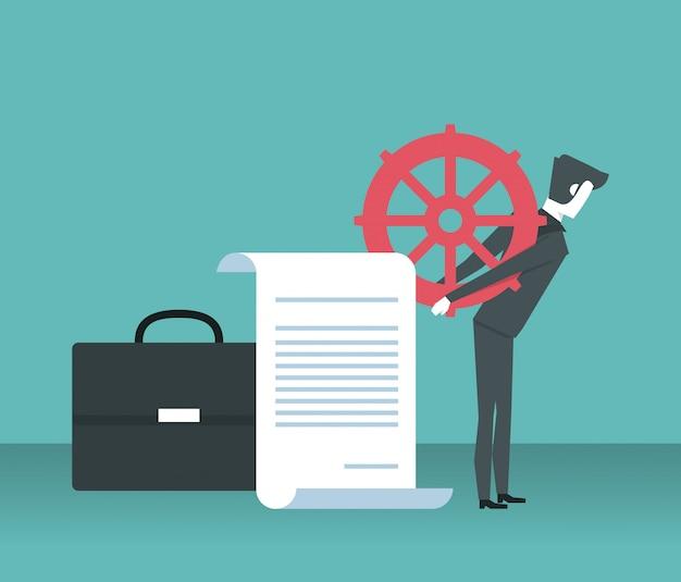 Desenhos animados do empresário trabalhador