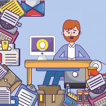Desenhos animados do espaço de trabalho do empregado do escritório de negócio