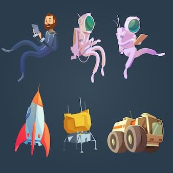 Desenhos animados do espaço exterior conjunto com símbolos de nave espacial e astronáutica