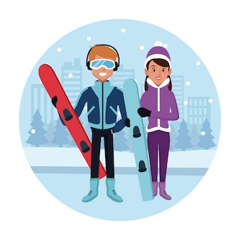 Desenhos animados do esporte de snowboard