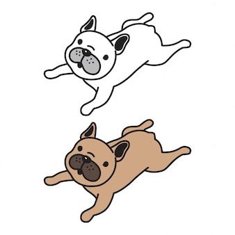 Desenhos animados do filhote de cachorro do buldogue francês do vetor do cão