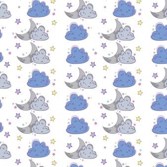 Desenhos animados do fundo da nuvem e da lua