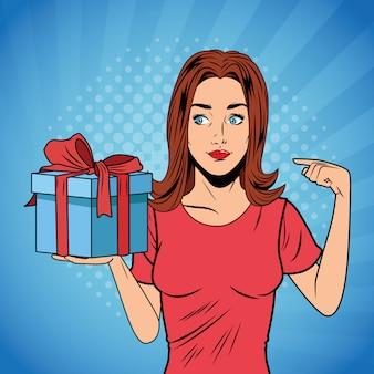 Desenhos animados do giftbox do aniversário da mulher do pop art