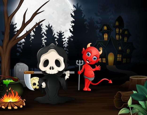 Desenhos animados do grim reaper e diabo vermelho ao ar livre na noite