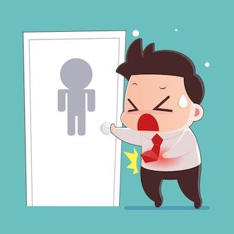 Desenhos animados do homem com conceito do problema da diarreia.