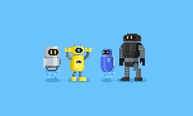 Desenhos animados do jogo de caracteres 8 dos robôs do pixel.