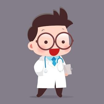 Desenhos animados do jovem médico masculino de casaco branco