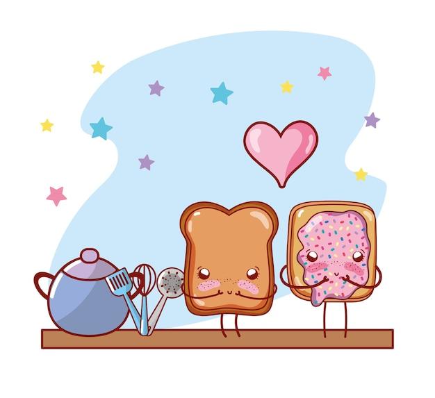Desenhos animados do kawaii dos desenhos animados da prateleira da cozinha