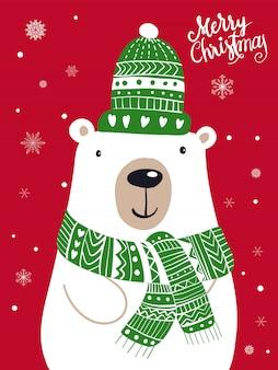 Desenhos animados do lenço do urso polar com festival do natal e inverno da neve.