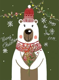 Desenhos animados do lenço do urso polar com festival do natal e vetor do inverno da neve.