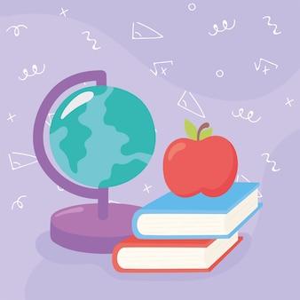 Desenhos animados do mapa do globo dos livros da maçã do material escolar