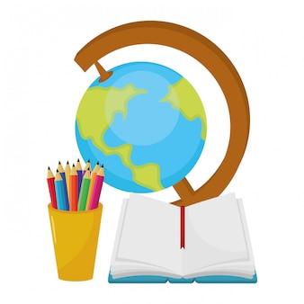 Desenhos animados do mapa do mundo de escola