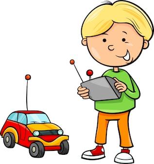 Desenhos animados do menino e do carro remoto
