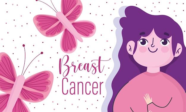 Desenhos animados do mês de conscientização do câncer de mama mulher borboletas fundo pontilhado