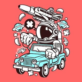 Desenhos animados do motorista do jipe do astronauta