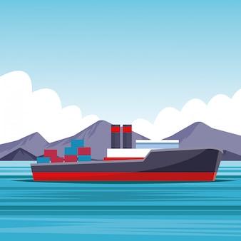 Desenhos animados do navio de carga