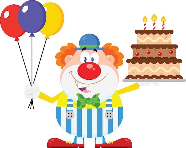 Desenhos animados do palhaço feliz com balões e bolo de aniversário.