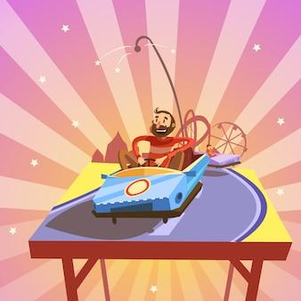 Desenhos animados do parque de diversões com a pessoa que monta um estilo retro do carro da atração