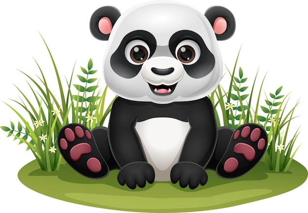 Desenhos animados do pequeno panda sentado na grama