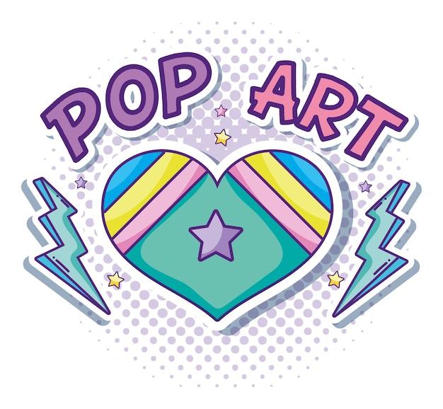 Desenhos animados do pop art do coração e do amor