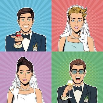 Desenhos animados do pop art dos noivos