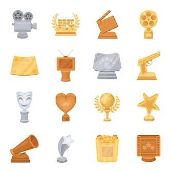 Desenhos animados do prêmio filme definir ícone. ilustração meu filme prêmio.