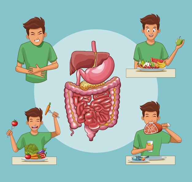 Desenhos animados do sistema digestivo e jovem