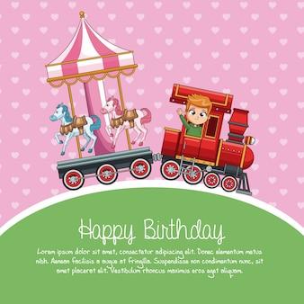 Desenhos animados do trem do feliz aniversario