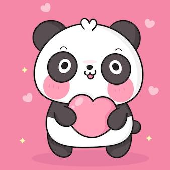 Desenhos animados do urso panda fofinho abraçando o animal kawaii com um coração pequeno