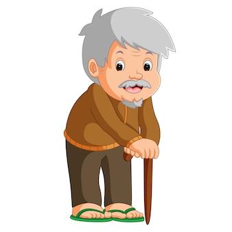 Desenhos animados do velho homem com uma bengala