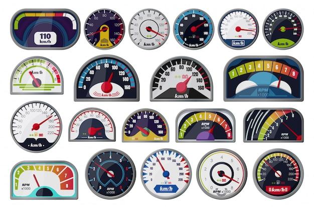 Desenhos animados do velocímetro definir ícone. ilustração velocidade do carro no fundo branco. desenhos animados definir ícone velocímetro.