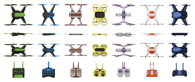 Desenhos animados do zangão definir ícone. ilustração quadcopter em fundo branco. desenhos animados definir ícone drone.
